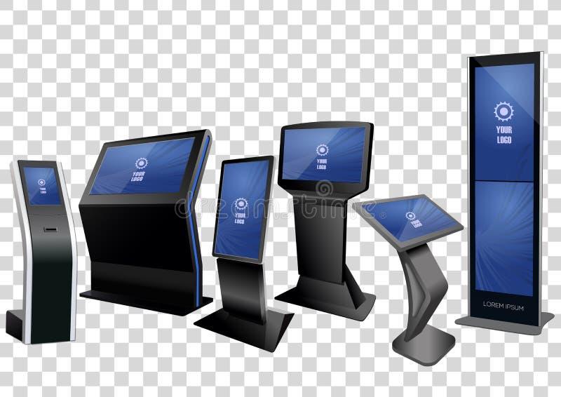 Seis quioscos de información interactivos promocionales, haciendo publicidad de la exhibición, soporte terminal aislado en fondo  stock de ilustración