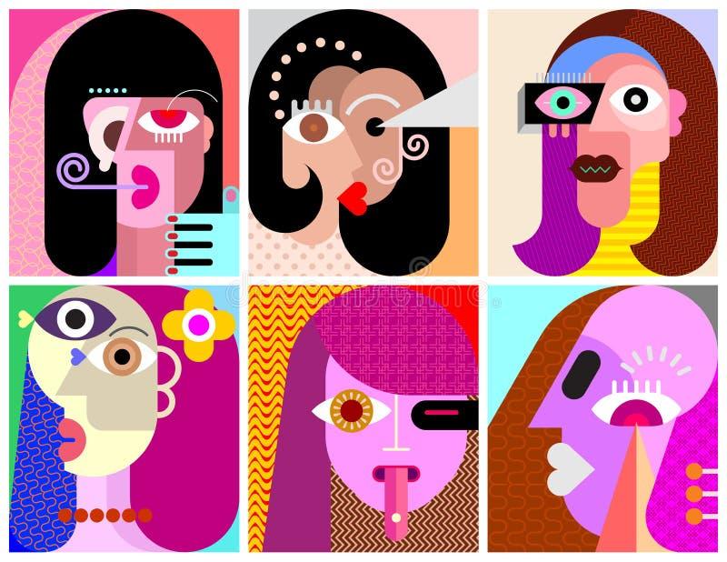 Seis retratos/seis ejemplos gráficos de los avatares stock de ilustración