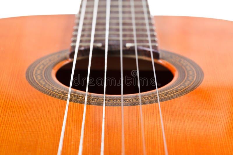 Seis secuencias de nylon de guitarra acústica clásica fotografía de archivo libre de regalías