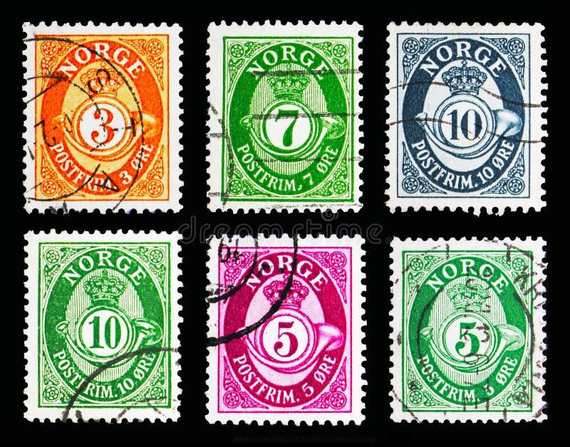 Seis selos postais impressos em Noruega do serie do chifre de cargo (1910- imagens de stock