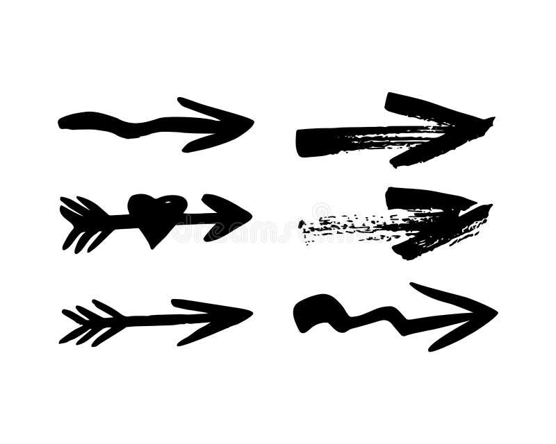 Seis setas diferentes pretas tiradas mão no branco Ilustração do vetor ilustração stock