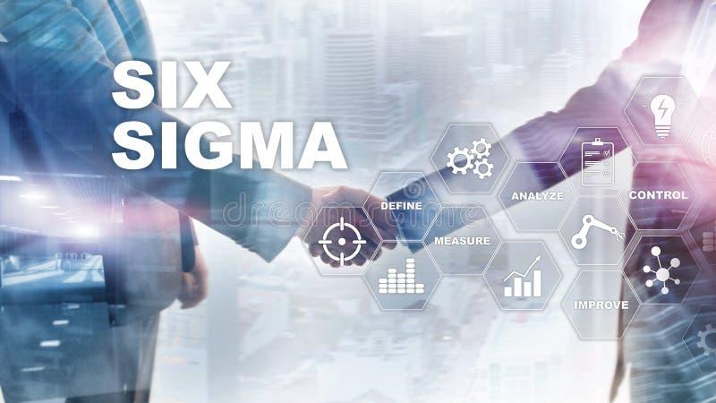 Seis sigmas, fabricación, control de calidad y proceso industrial mejorando concepto Negocio, Internet y tehcnology ilustración del vector