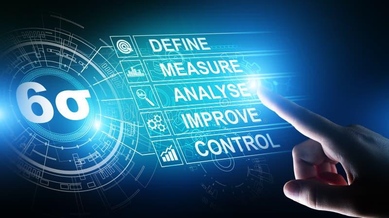 Seis sigmas, fabricación magra, control de calidad y proceso industrial mejorando concepto ilustración del vector