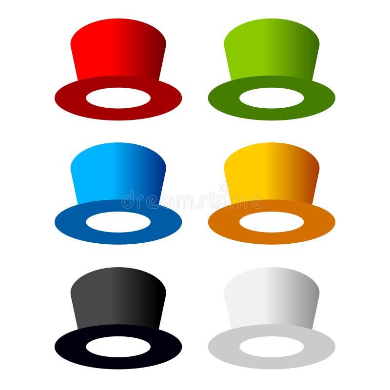 Seis sombreros del color ilustración del vector