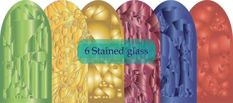 Seis sumários do vitral tridimensionais em um fundo branco ilustração do vetor
