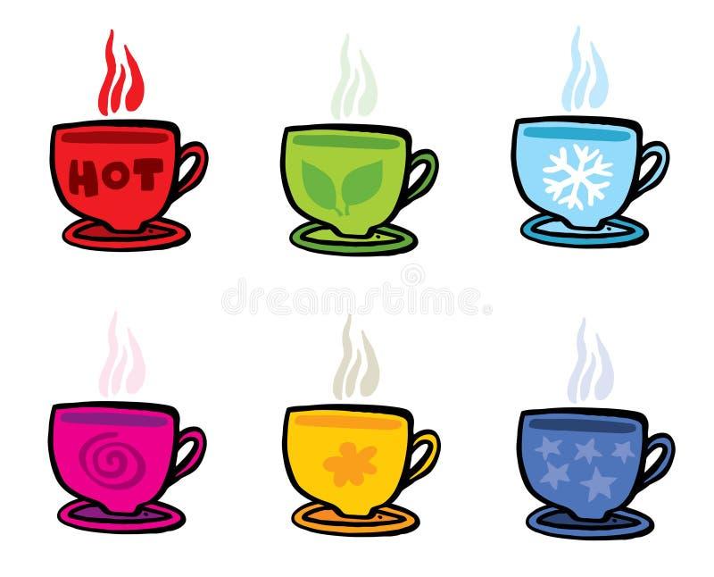 Seis tazas con diversos símbolos en blanco ilustración del vector