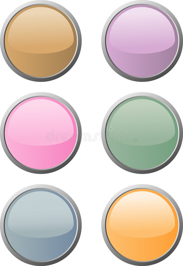 Seis teclas macio-coloridas do Web ilustração do vetor