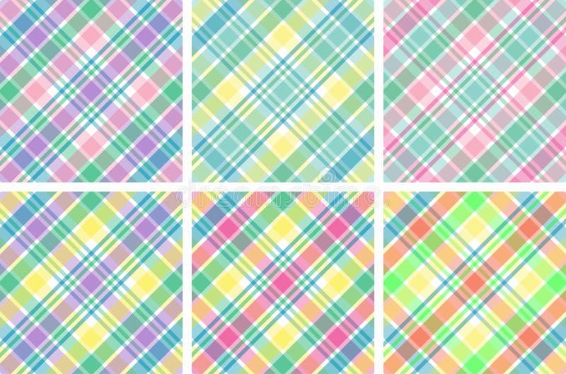 Seis telas escocesas en colores pastel ilustración del vector
