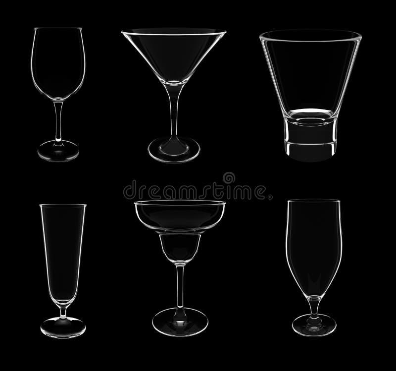 Seis tipos de diverso coctel vacian los vidrios ilustración del vector