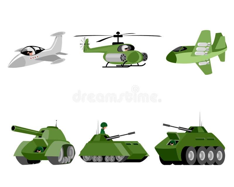 Seis veículos militares ilustração royalty free