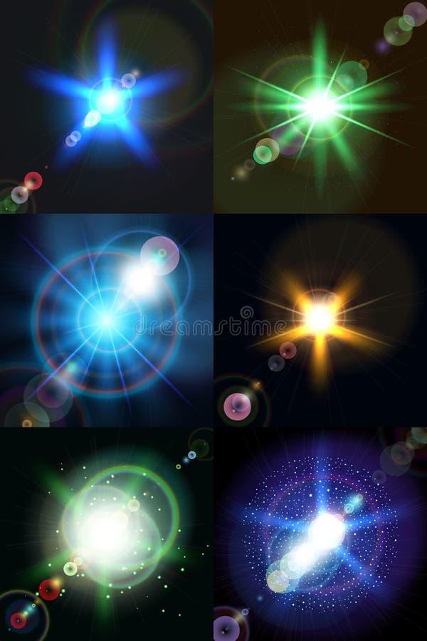 Seis vetores coloridos brilhantes das estrelas ilustração royalty free
