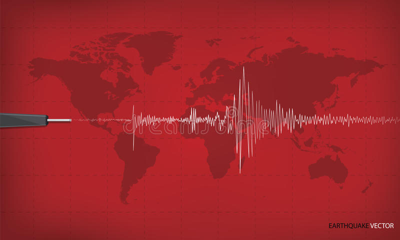 Seismic activity graph showing an earthquake royalty free illustration