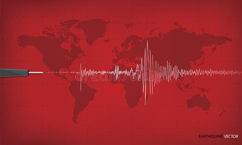 Seismische activiteitengrafiek die een aardbeving tonen royalty-vrije illustratie