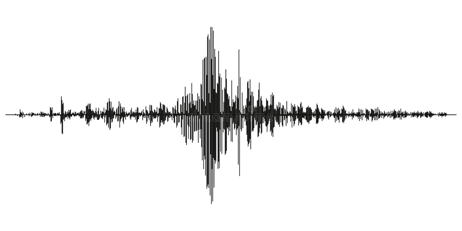 Seismogram of different seismic activity record vector illustration, earthquake wave on paper fixing, stereo audio wave diagram ba. Ckground. seismic tremors royalty free illustration