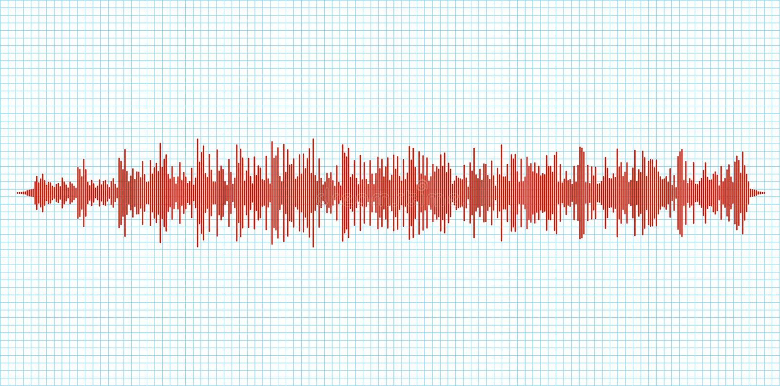 Seismogram earthquake seismic graph diagram. Seismometer or sound waves vibration richter activity.  stock illustration