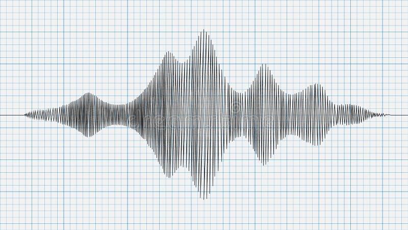 Seismograph διάγραμμα, γραφική παράσταση του σεισμού σε χαρτί, διάνυσμα διανυσματική απεικόνιση
