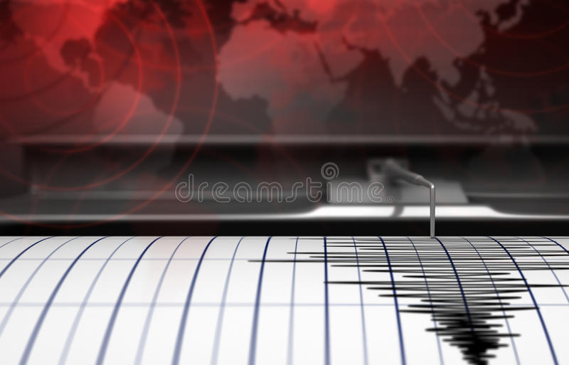 Seismograph with paper. In action and earthquake - 3D Rendering stock illustration
