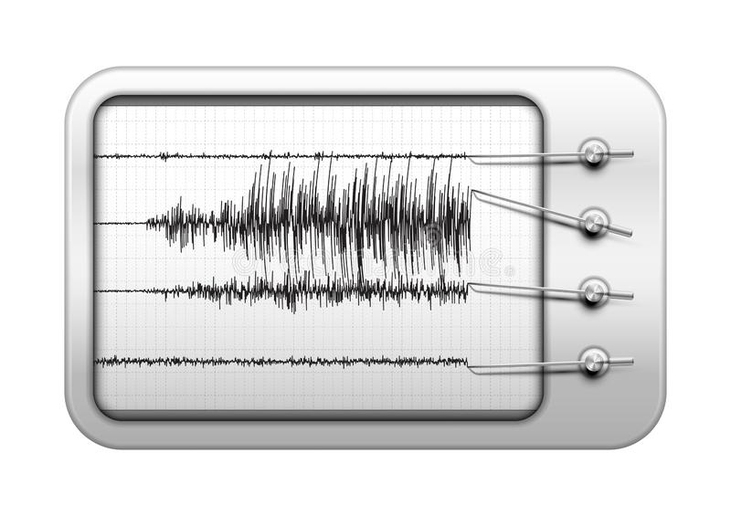 Seismograph recording seismic activity and detecting an earthquake, seismology equipment for earthquake researching and prediction stock photo