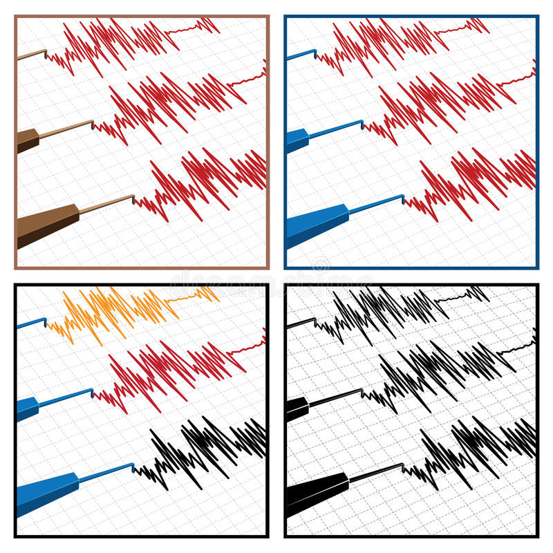 Seismograph. Stylized vector illustration on the theme of seismic activity and seismograms royalty free illustration