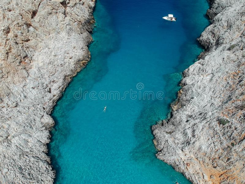 Seitan Limania Beach Aerial View on Crete, Greece stock photos