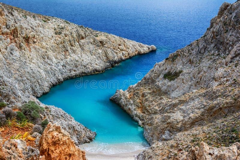 Seitan limania or Stefanou beach, Crete stock photo