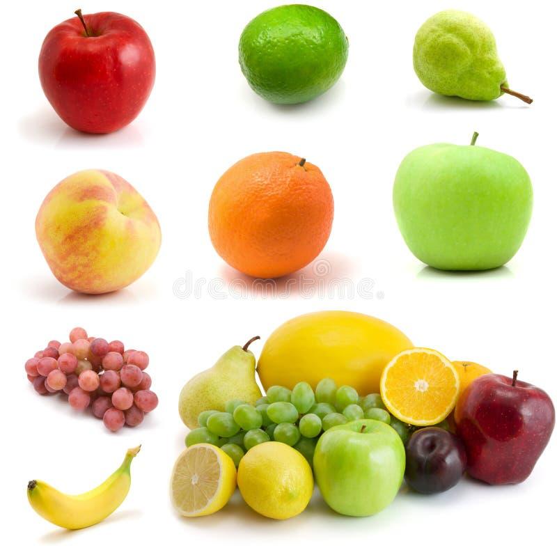 Seite der Früchte getrennt auf dem Weiß stockfotografie