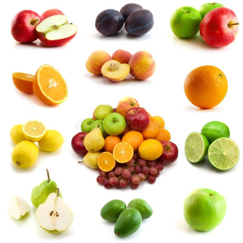 Seite der Früchte getrennt auf Weiß lizenzfreie stockbilder