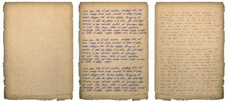 Seite des alten Buches mit abgenutztem Ränder Handschrifts-Papierbeschaffenheit backgrou lizenzfreie stockbilder