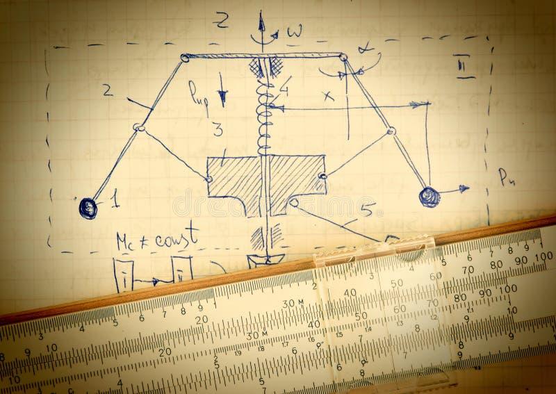 Seite des alten Papiers mit der Berechnung der theoretischen Mechaniker lizenzfreie stockbilder