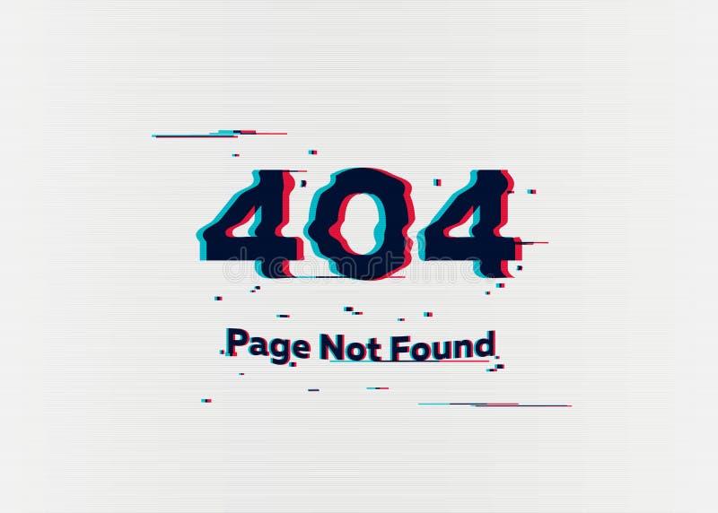 Seite des Fehlers 404 nicht gefunden Fehler mit Störschubeffekt auf Schirm Vektorabbildung für Ihr design stockfotografie