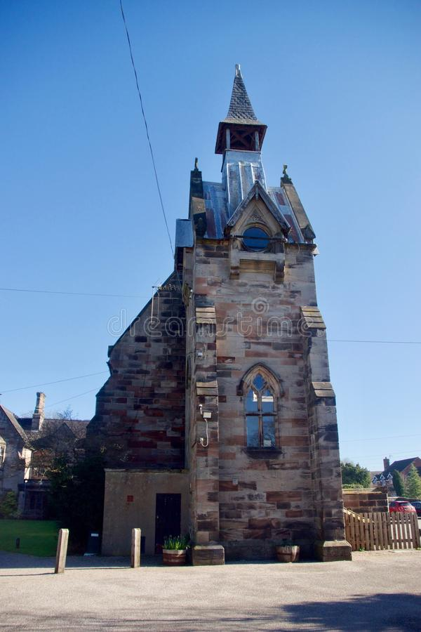Seite des Turms von St- Johnsschule stockbild