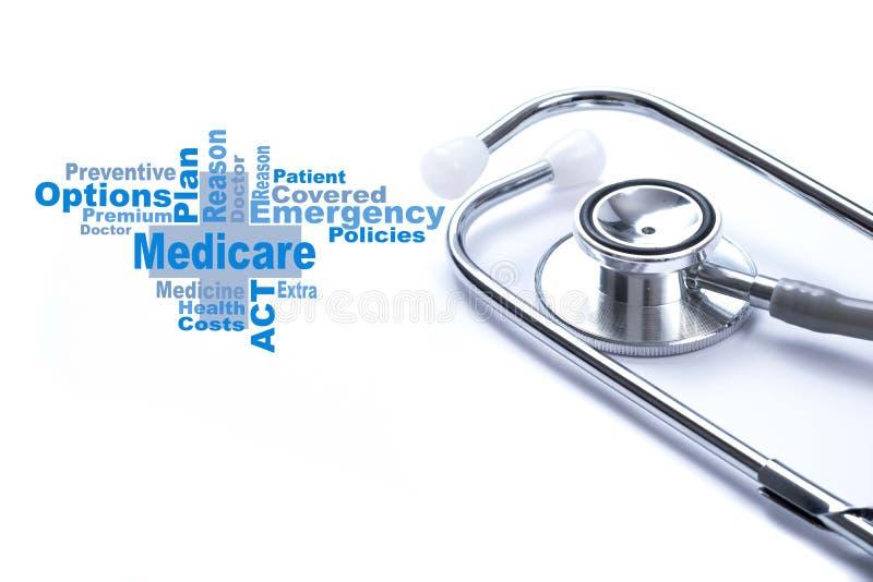 Seite mit Medicare-Wort auf dem Tisch mit Stethoskop, medizinisches c lizenzfreies stockfoto