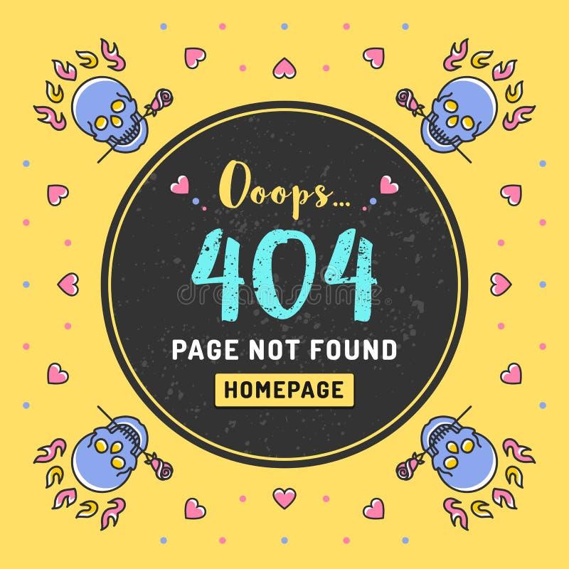 Seite nicht gefunden, 404 Fehler Vektorillustration lizenzfreie abbildung