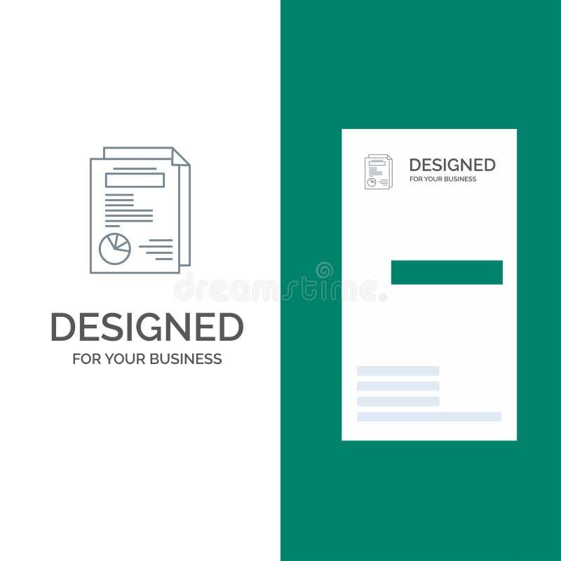 Seite, Plan, Bericht, Darstellung Grey Logo Design und Visitenkarte-Schablone lizenzfreie abbildung