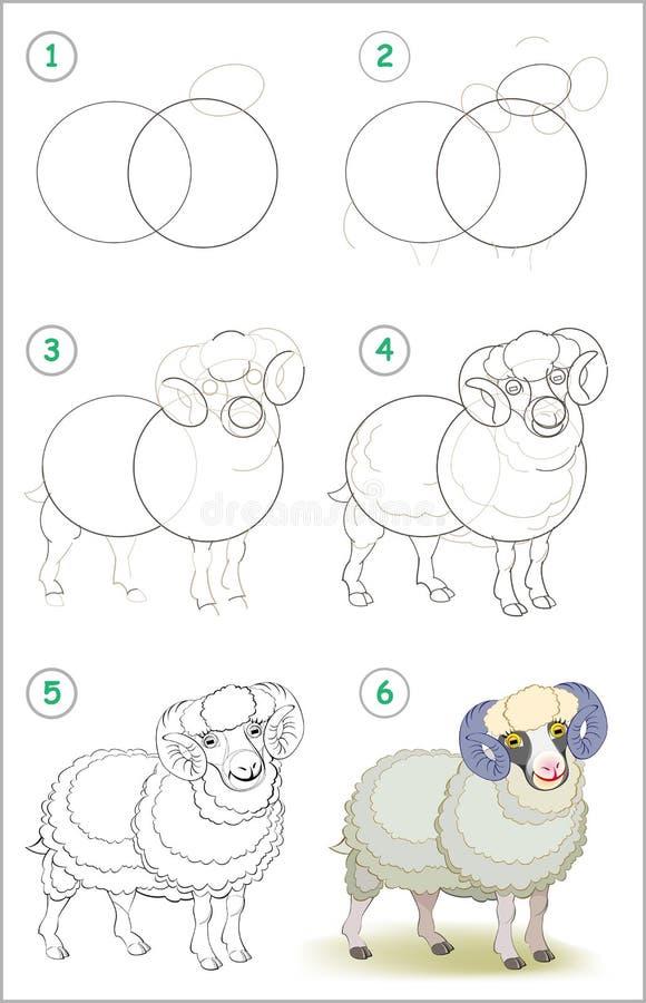 Seite zeigt, wie man Schritt für Schritt lernt, ein nettes inländisches männliches Schaf zu zeichnen Sich entwickelnde Kinderfähi vektor abbildung