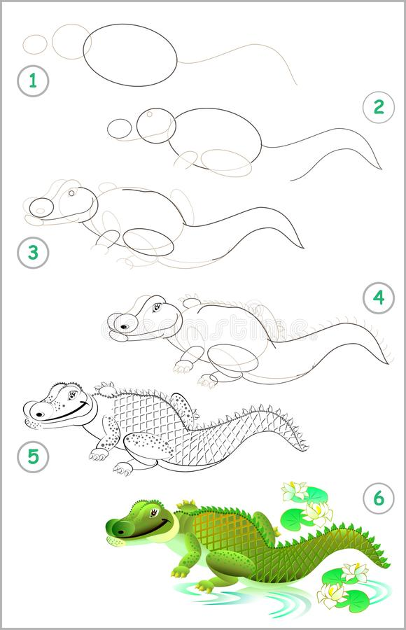 Seite zeigt, wie man Schritt für Schritt lernt, ein nettes Krokodil zu zeichnen Sich entwickelnde Kinderfähigkeiten für das Zeich stock abbildung