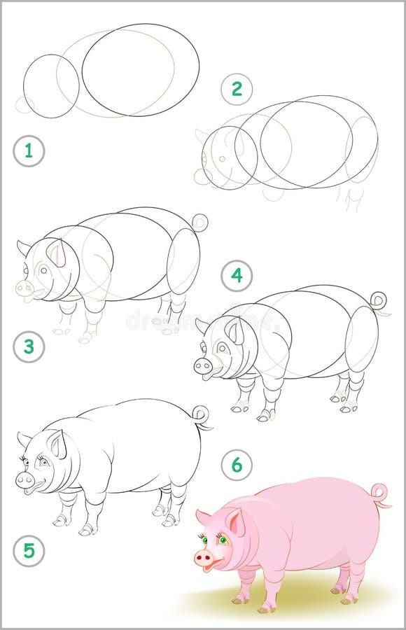 Seite zeigt, wie man Schritt für Schritt lernt, ein nettes Schwein zu zeichnen Sich entwickelnde Kinderfähigkeiten für das Zeichn stock abbildung