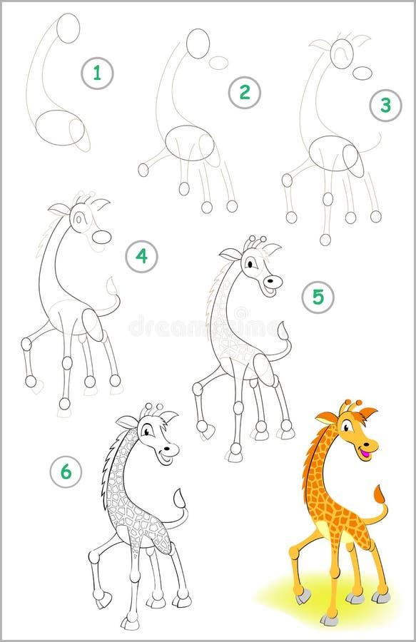 Seite zeigt, wie man Schritt für Schritt lernt, eine kleine Giraffe zu zeichnen Sich entwickelnde Kinderfähigkeiten für das Zeich vektor abbildung