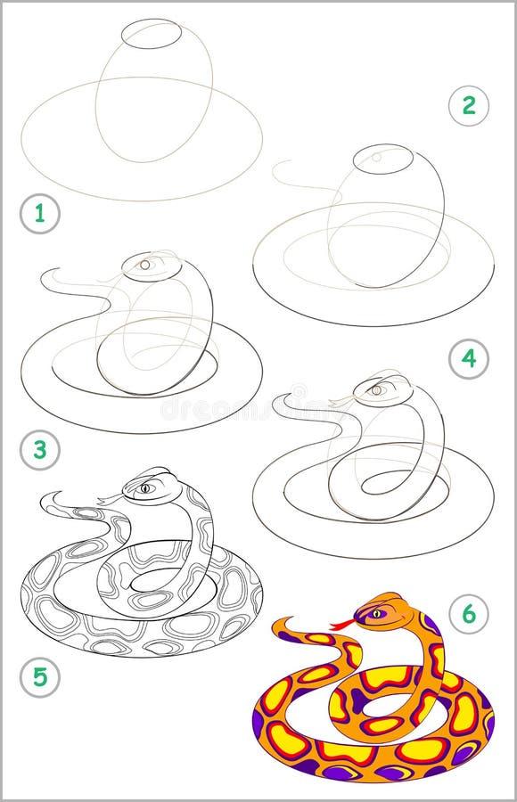 Seite zeigt, wie man Schritt für Schritt lernt, eine nette Schlange zu zeichnen Sich entwickelnde Kinderfähigkeiten für das Zeich stock abbildung