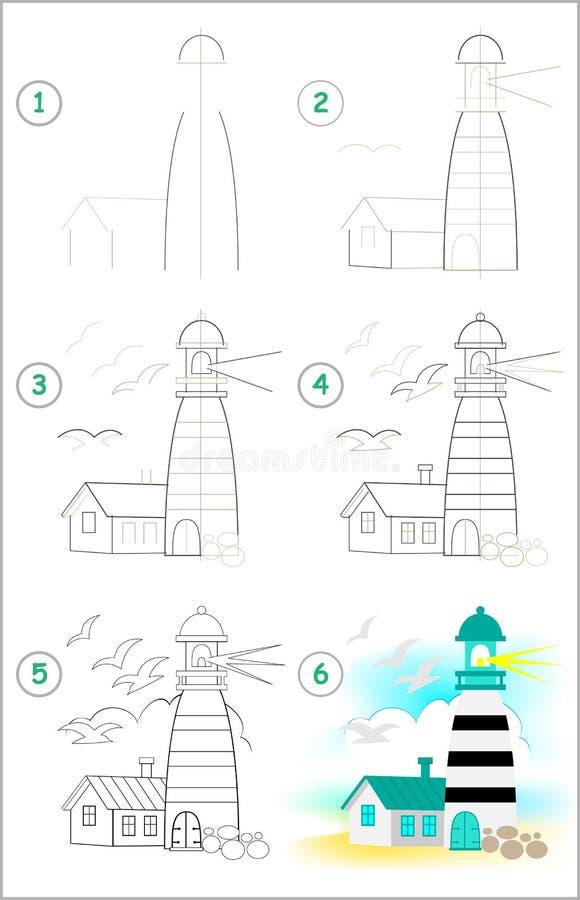 Seite zeigt, wie man Schritt für Schritt lernt, einen Leuchtturm zu zeichnen Sich entwickelnde Kinderfähigkeiten für das Zeichnen vektor abbildung