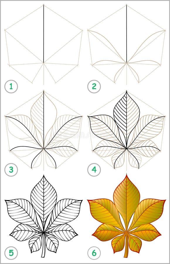 Seite zeigt, wie man Schritt für Schritt lernt, ein Kastanienblatt zu zeichnen lizenzfreie abbildung
