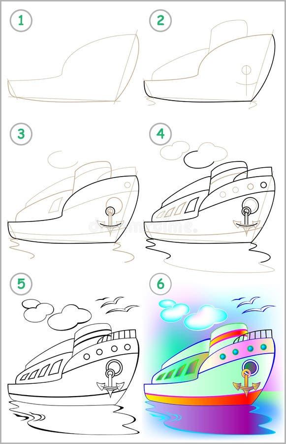 Seite zeigt, wie man Schritt für Schritt lernt, ein Schiff zu zeichnen vektor abbildung