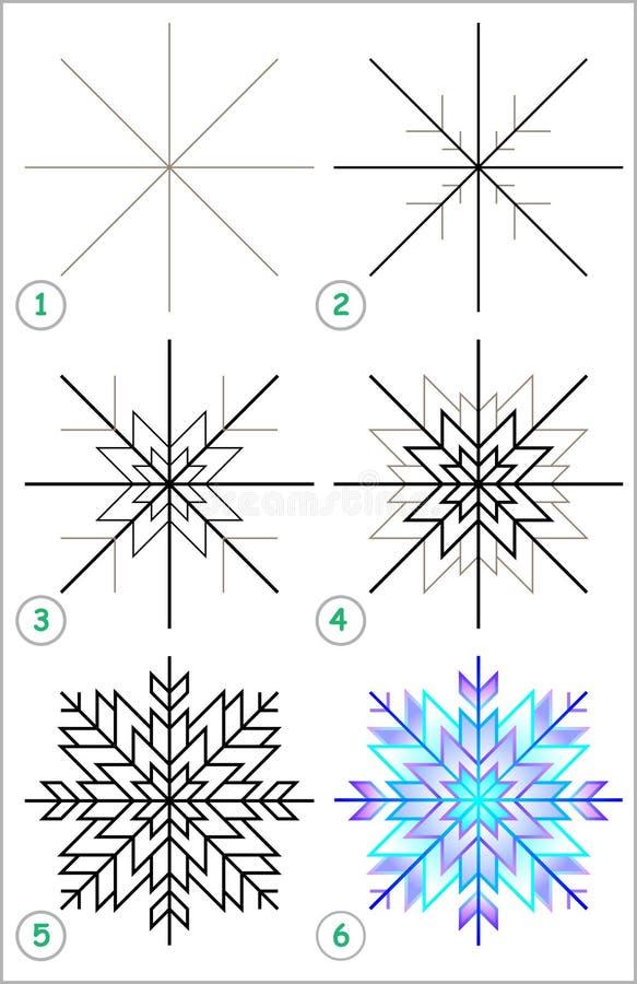 Seite zeigt, wie man Schritt für Schritt lernt, eine Schneeflocke zu zeichnen stock abbildung