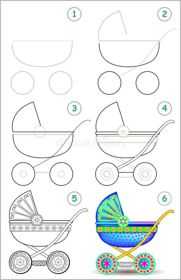 Seite zeigt, wie man Schritt für Schritt lernt, einen Kinderwagen zu zeichnen vektor abbildung