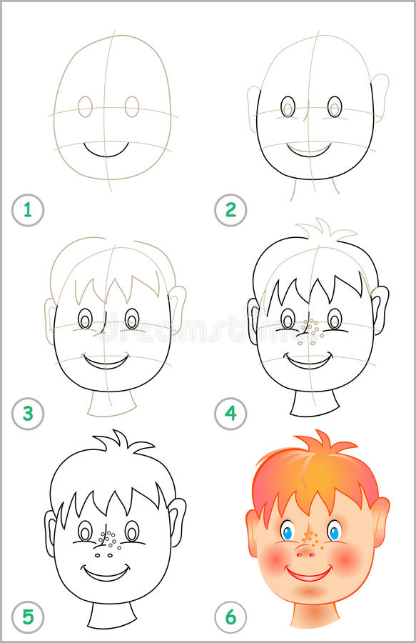 Seite zeigt, wie man Schritt für Schritt lernt, einen Kopf zu zeichnen lizenzfreie abbildung