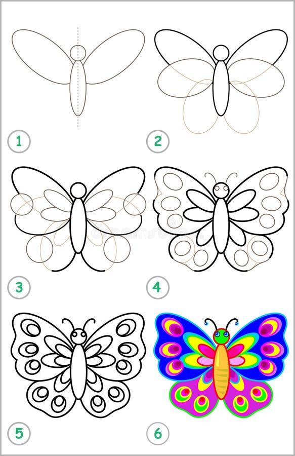 Seite Zeigt, Wie Man Schritt Für Schritt Lernt, Einen Schmetterling ...