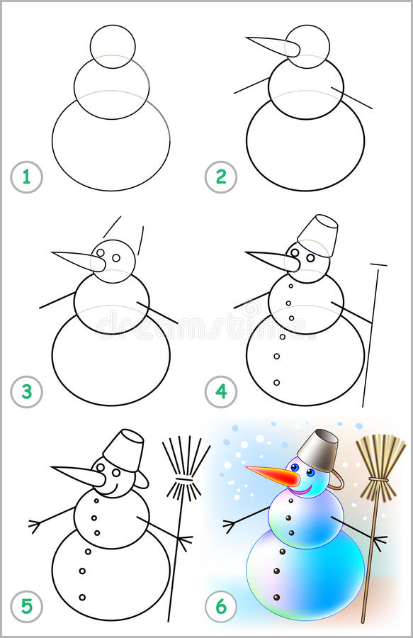 Seite zeigt, wie man Schritt für Schritt lernt, einen Schneemann zu zeichnen vektor abbildung