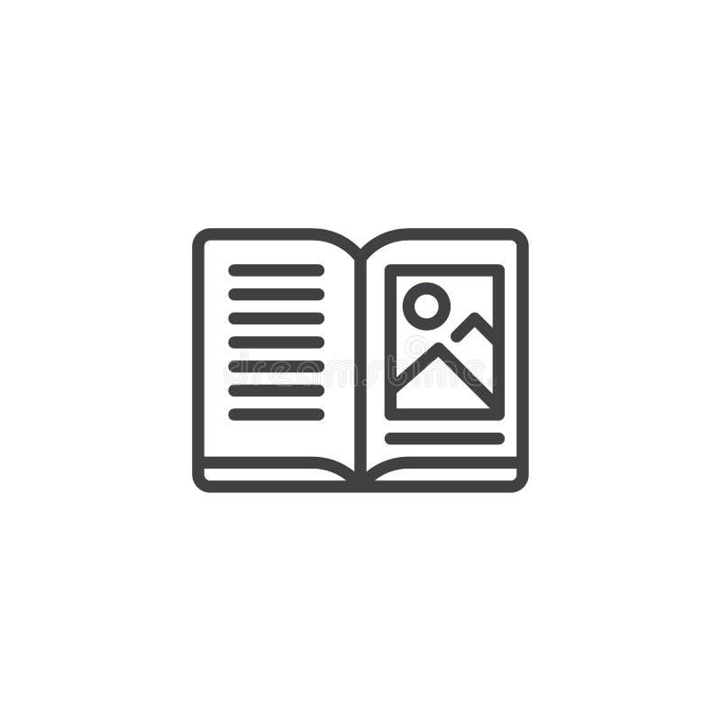 Seiten des offenen Buches mit Bildentwurfsikone stock abbildung