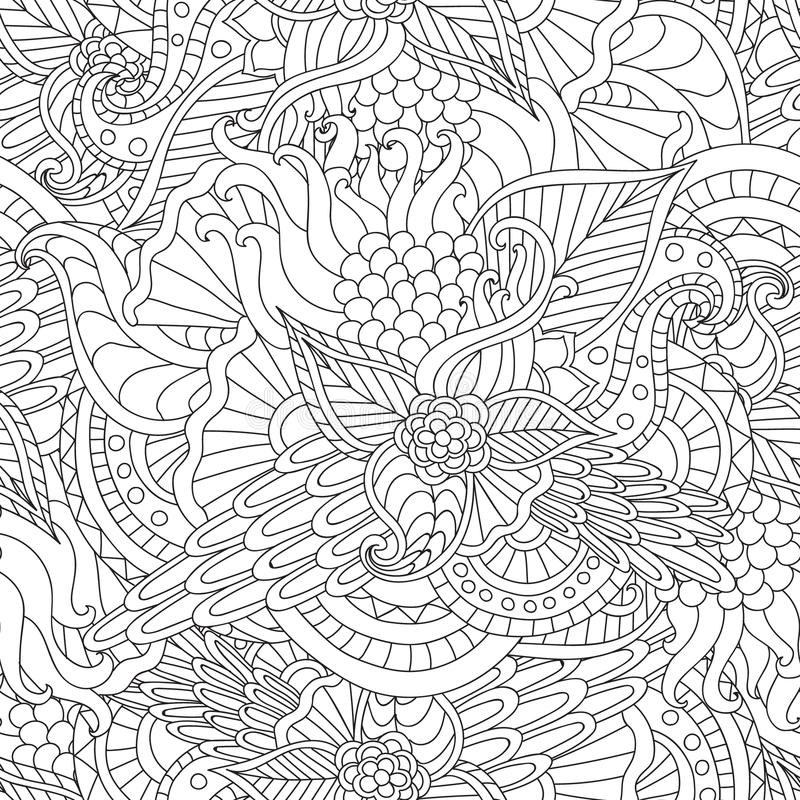 Seiten für erwachsenes Malbuch Übergeben Sie gezogener künstlerischer ethnischer Ornamental kopierten Blumenrahmen im Gekritzel stock abbildung