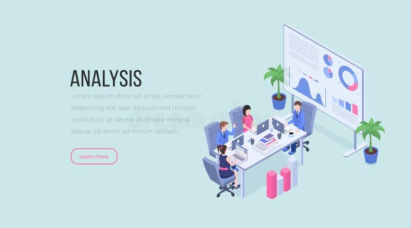 SEITEN-Farbschablone der Analyse isometrische Landungs Teamwork, Geschäftsverhandlungen, Daten Analytics, Brainstorming, Mann und vektor abbildung